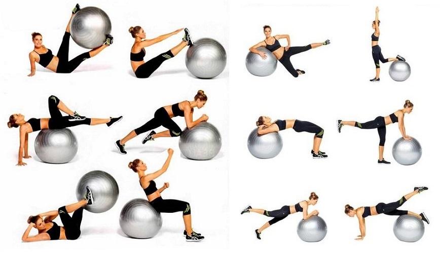 упражнения за гърба с фитбол
