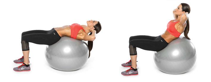 упражнения за коремните мускули с топка
